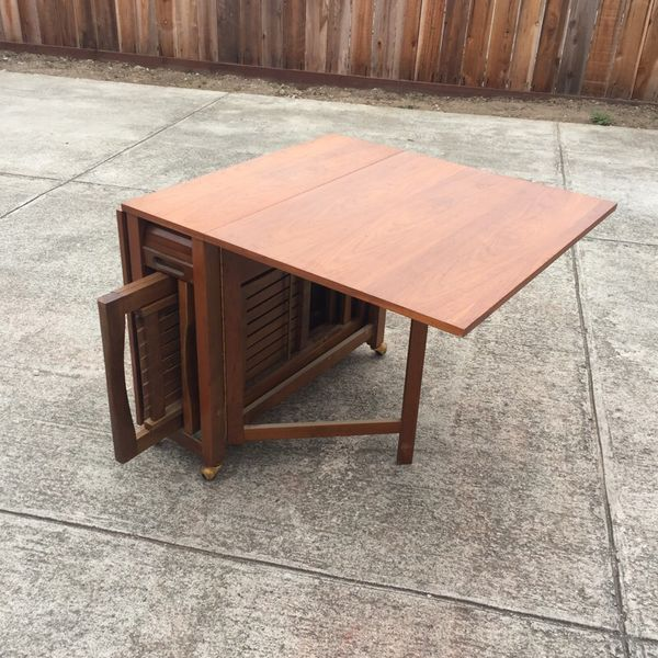 Rare Mid Century Romanian Drop Leaf Table W 4 Hideaway Chairs Furniture In