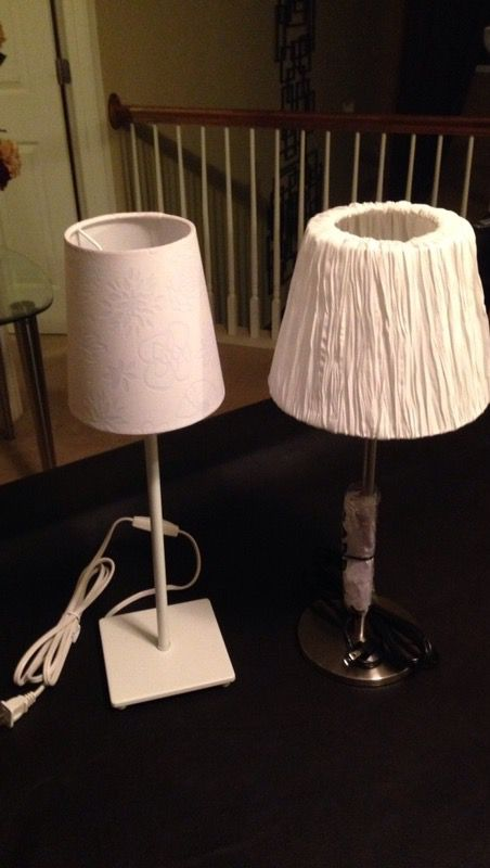 Two white table lamps with white lampshades furniture in charlotte nc two white table lamps with white lampshades mozeypictures Image collections