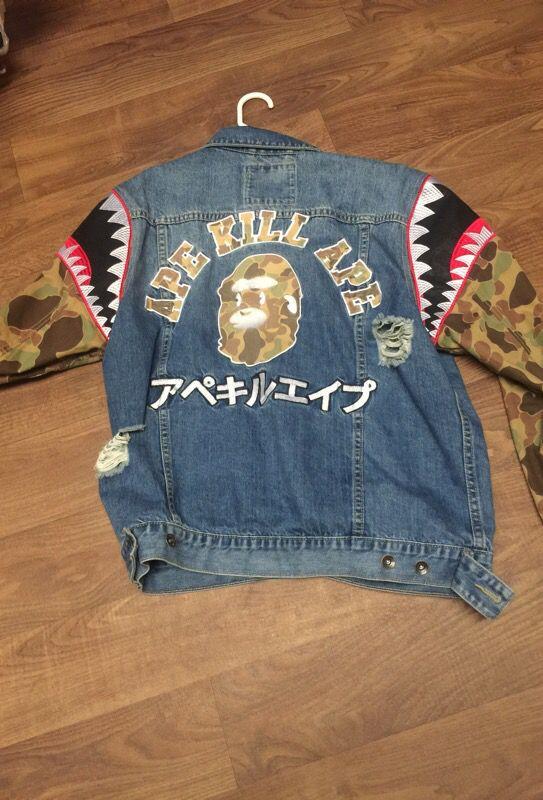 U0026quot;BAPEu0026quot; Hudson jean shark boy jacket (official ) size L. Like new! (Clothing u0026 Shoes) in Columbus ...
