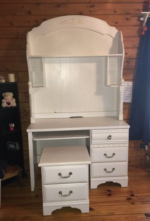 Desk with hutch with keyboard pullout & nightstand