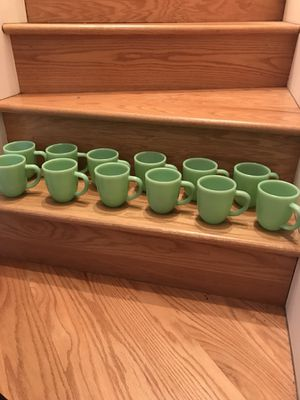 Set of 12 Jade Colored Mugs