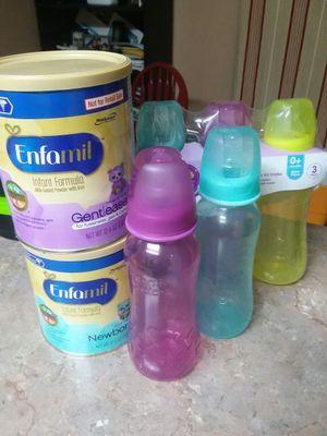 Baby milk and bottles