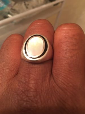 Sterling silver with beautiful stone thick and heavy