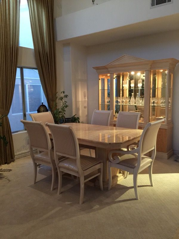 Italian Designer Max Sedie Di Baldi Massimo Formal Dining Table With Six Chairs