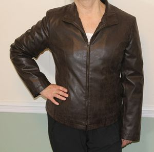 Brown Faux Leather Women's Jacket - Medium