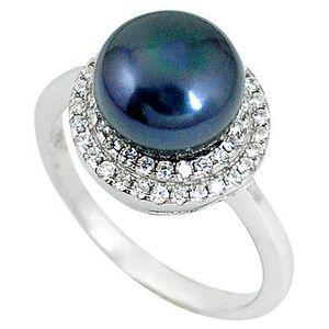 Natural titanium pearl 925 silver ring