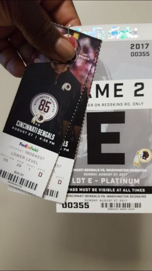 Redskins lower level with parking pass $120 obo