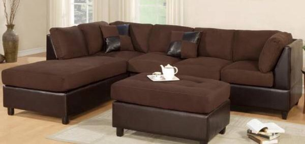 Microfiber plush faux leather 3 pcs sectional furniture for Furniture in federal way