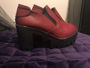 Red Platform heels size 7