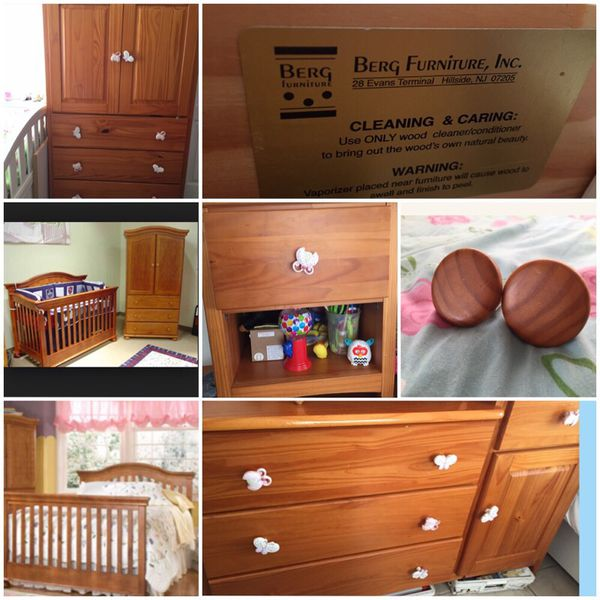 Solid pine wood crib/full bed, armoire, nightstand, and dresser ...