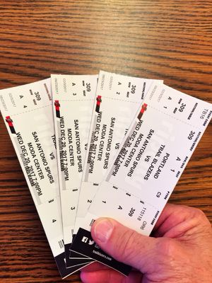 Blazers v S.A. Spurs 12/2017 7pm 4 front row in 309 $50ea.