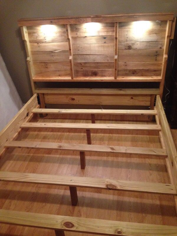 Queen Bed Frame Made Out Of Pallet Wood Furniture In