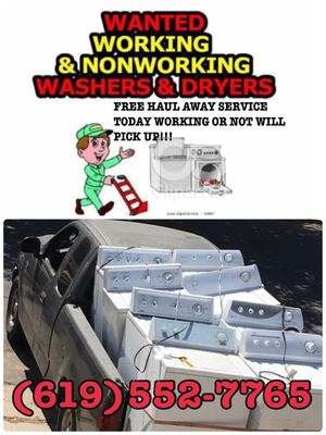 FREE HAULING SERVICES OF WASHERS & DRYERS WORKING OR NOT WILL PICK UP TODAY ☎️6️⃣1️⃣9️⃣➖5️⃣5️⃣2️⃣➖7️⃣7️⃣6️⃣5️⃣