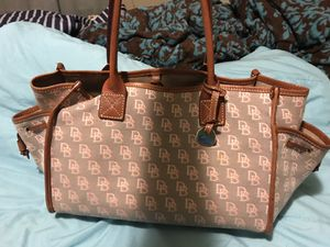 Gray and pink monogram Dooney and Bourke handbag