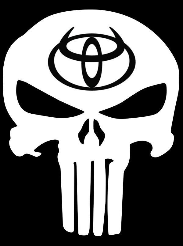 Custom Vinyl Decal Toyota Logo Inside Of Punisher Skull Cars - Custom vinyl decals near me