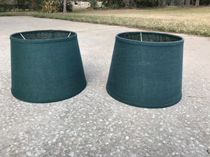 World Market Natural Burlap Drum Table Lamp Shades (2 sold as set) Teal