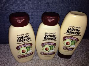 3 Bottles Garnier Whole blend nourishing Shampoo & Conditioner. Please See All The Pictures and Read the description.