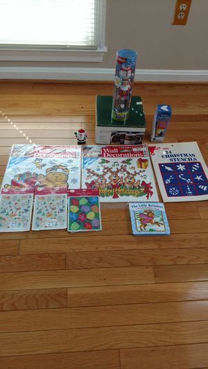 Lot of Christmas items. Includes stickers, decorations, cups, Etc