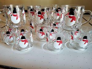 A Dozen Gibson Snowman Glass Mugs With Handles