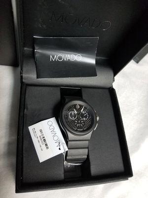 RARE Movado Parlee Black Peek and Titanium Watch