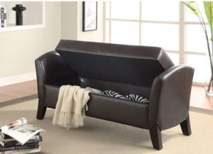 STORAGE BENCH DARK BROWN