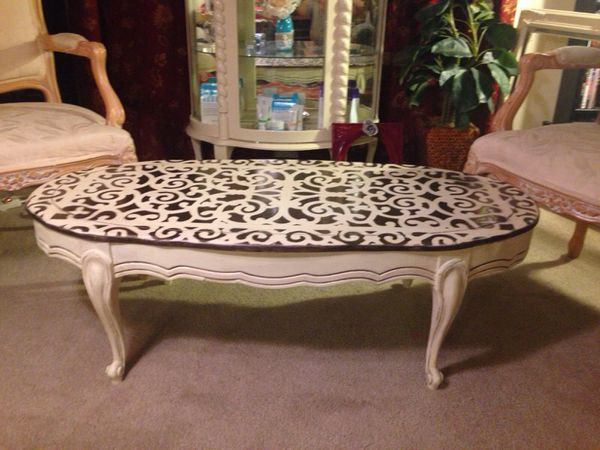 french country shabby chic coffee table,solid oak. painted in