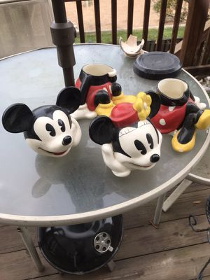 Minnie and Mickey mouse cookie jars