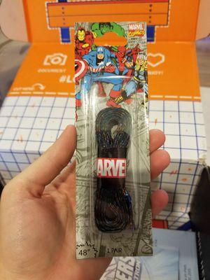 Loot crate exclusive Marvel Superhero shoe strings in color