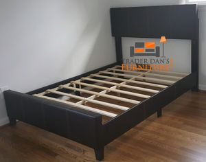 Brand New Queen Size Brown Leather Platform Bed Frame