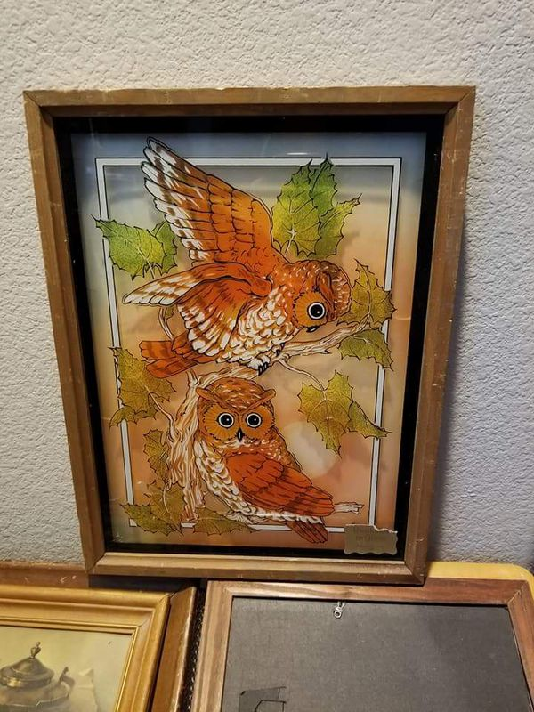 13x17 vintage owls painting glass frame (Antiques) in Las Vegas, NV ...