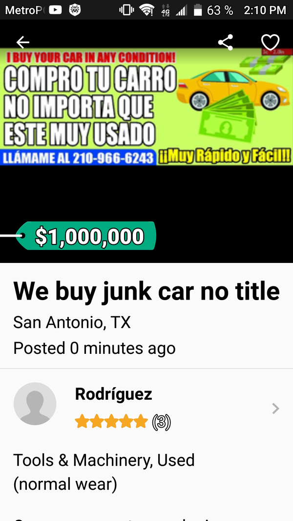 We buy junk cars best price right now pay cash (Tools & Machinery ...