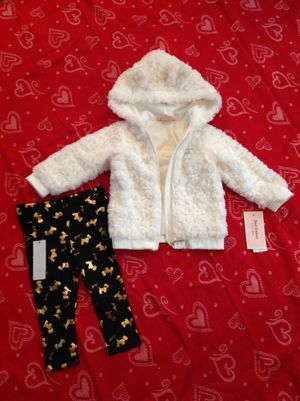 Adorable NWT Juicy Couture Faux Fur Hooded Coat w/Leggings