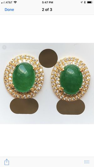Brand New jade and gold plated earrings
