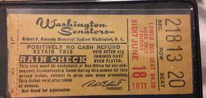 1971 Washington Senators ticket stub