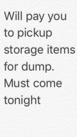 Need someone with a truck, trailer or large work van to come pickup dump items. Not a super large load. No appliances. Light stuff just need gone