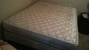 Queen size mattress with box spring and frame