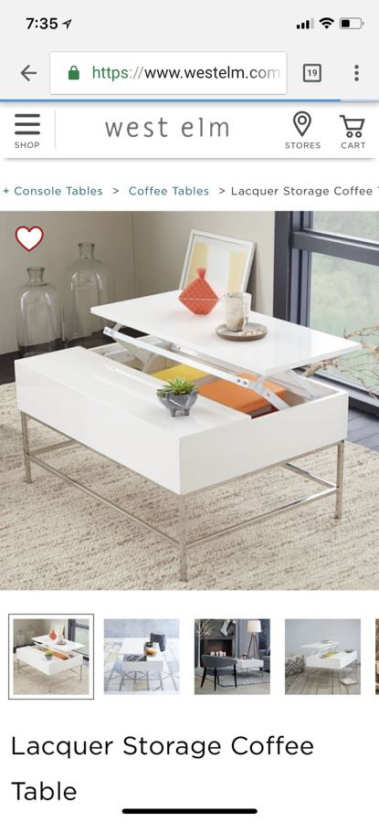 new West Elm white storage coffee table Furniture in Hillsborough CA