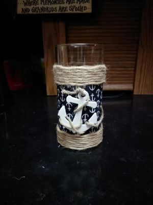 Nautical glass candle holder with candle