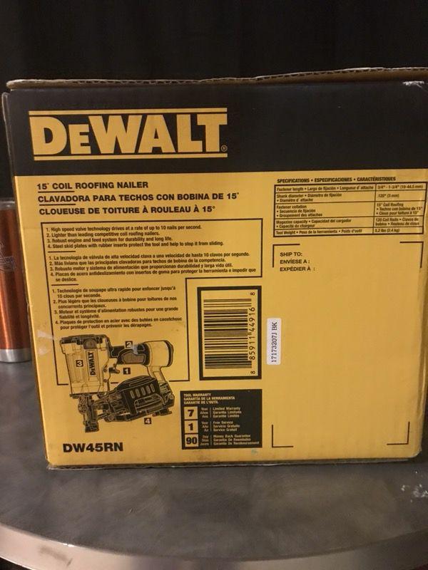 Dewalt 15 degree coil roofing nailer model #DW45RN (Tools ...