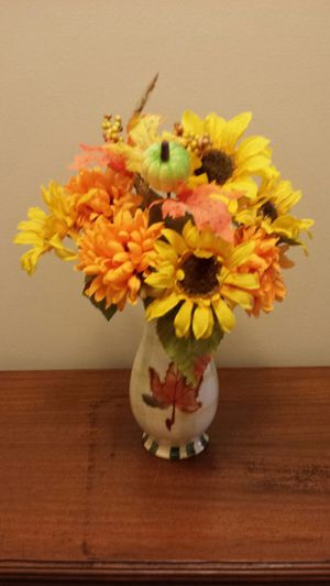 Fall flowers with ceramic pot