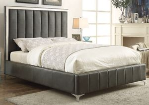GREY BED WITH METAL LEGS