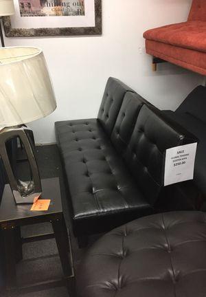 Black leather sleeper sofa was $350 new