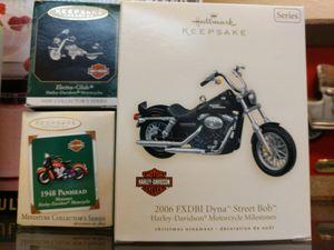 Several Harley Davidson ornaments