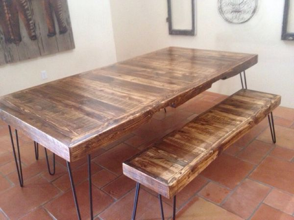 reclaimed wood dining table hairpin legs leg