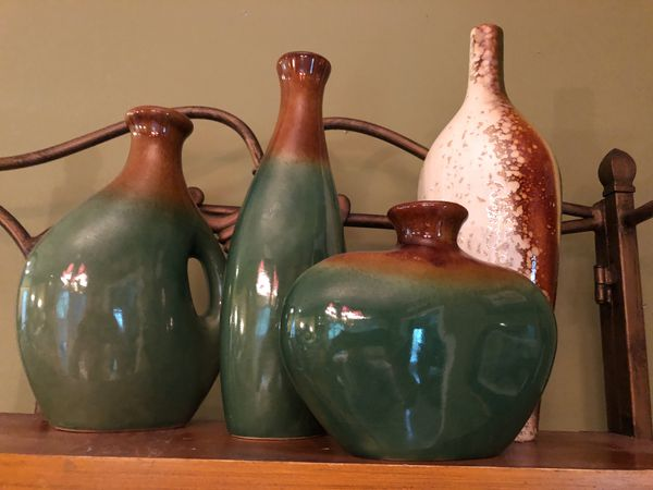 4 Decorative Ceramic Vases Brown And Green Household In Louisville Ky