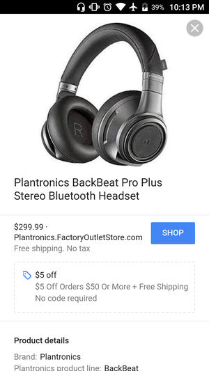 Plantronics BackBeat Pro Headset + Samsung Galaxy s6 edge Plus