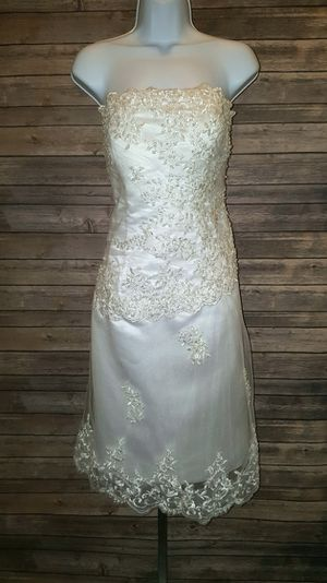 White Wedding Dress Strapless Size 14