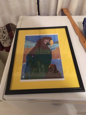 Hand painted Eagle with frame