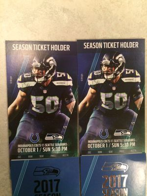 2 tickets Seahawks vs. Colts 10/1/17