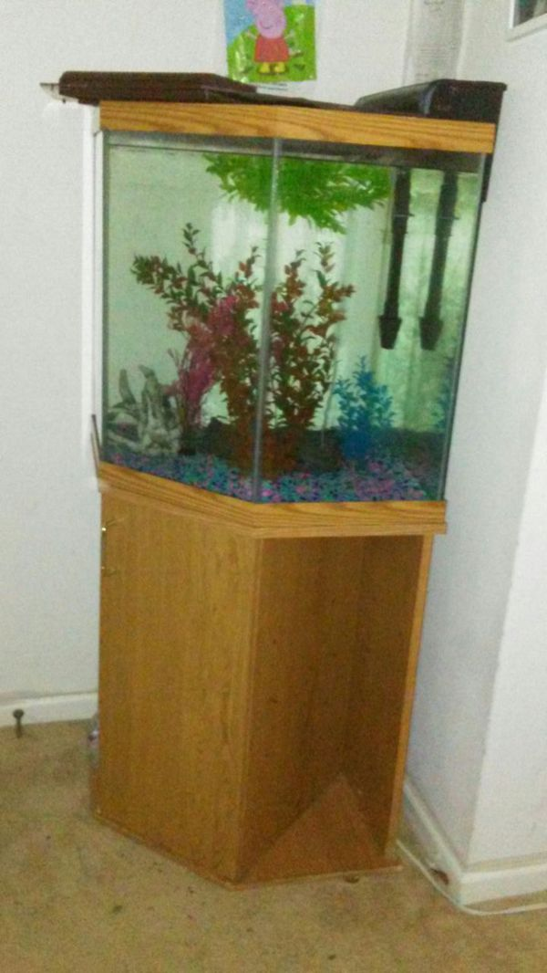 44 gallon octagon fish tank withstand home garden in for Octagon fish tank with stand